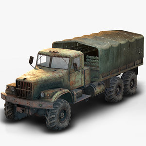 3D kraz 255 flatbed rusted model