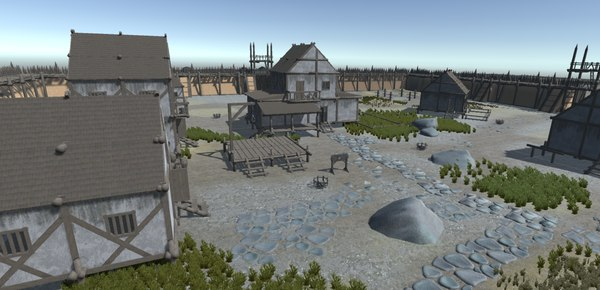fortress buildings fences 3D model