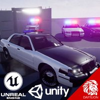 3D brandless police vehicle crown victoria model