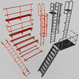 escape stairs safety elements 3D model