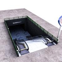 3D subway entrance
