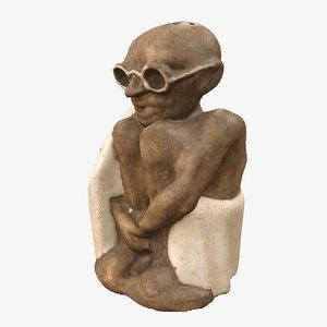 shaker sculpture gandhi 3D model
