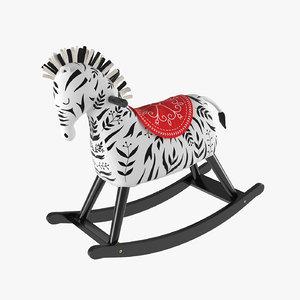 3D zebra rocking horse