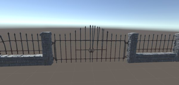 3D stone fence gates model