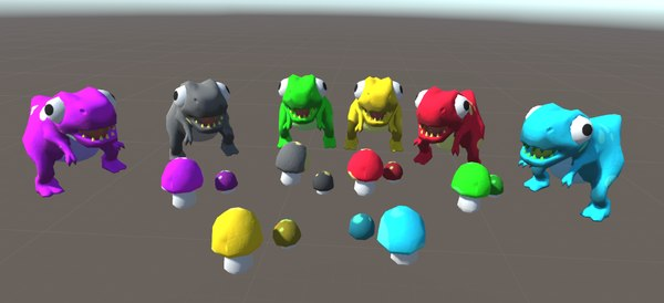 dinosaurs mushrooms 3D model