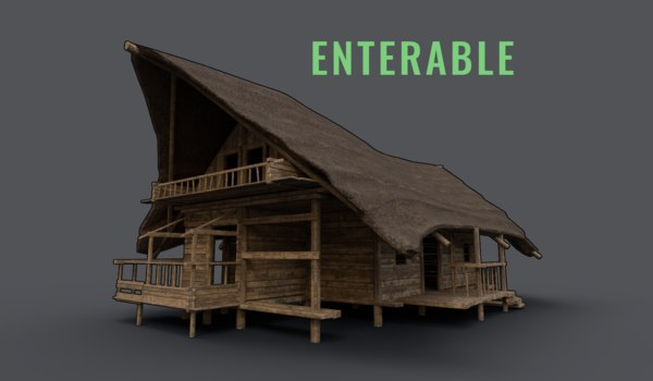 3D wooden cabin enterable model