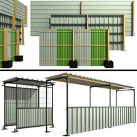 3D protective security fencing construction model