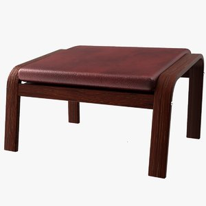 modelled ikea poang footstool 3D