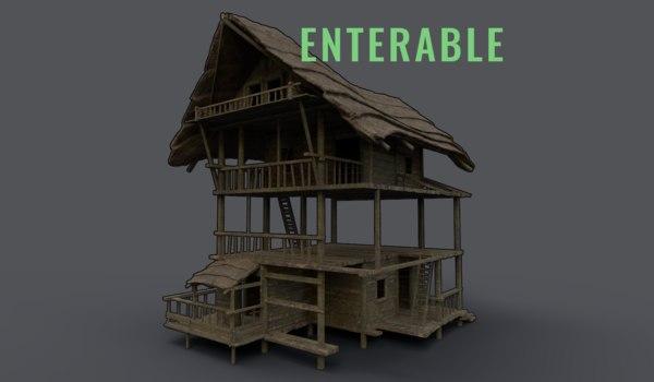 3D model wooden house scouttower enterable