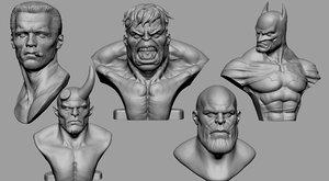 3D bust hulk hellboy batman