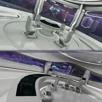realistic sci-fi control room 3D