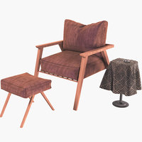 3D chair furniture armchair model