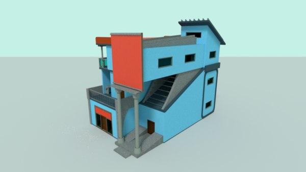 3D model building balconies