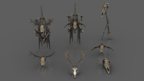 3D animal skulls totems model