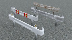 japanese guardrail rail dirty 3D model