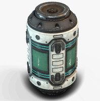 Sci Fi Barrel Low Poly