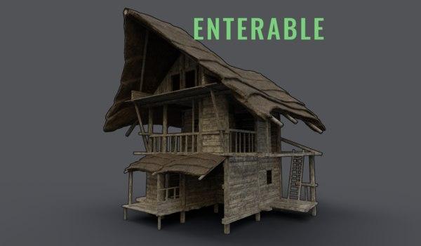 wooden hut enterable 3D