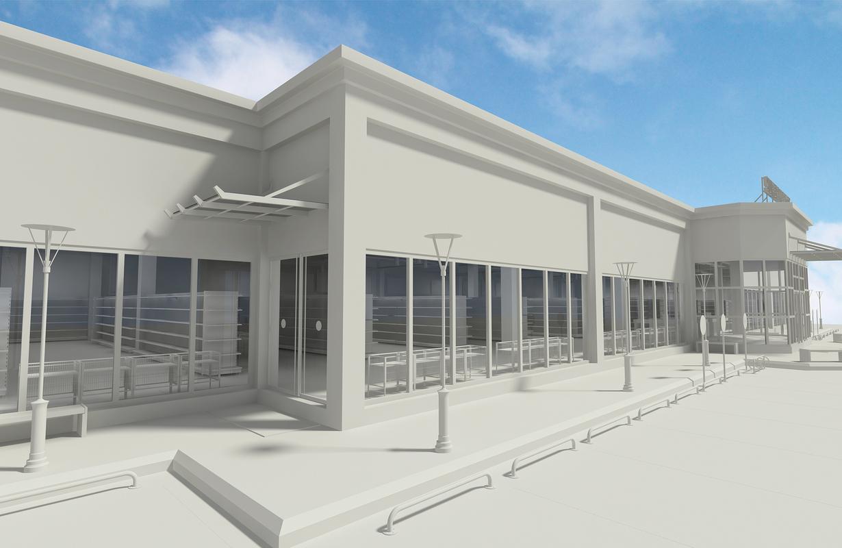 3D supermarket building interior shelfing model