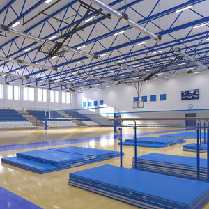 realistic basketball gymnastic gym interior 3D model