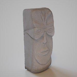 3D model antique head historic artifact