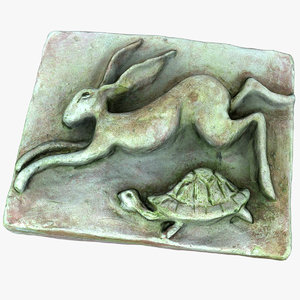 3D model hare relief rabbit