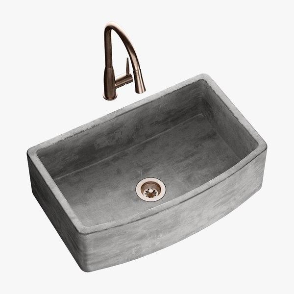 3D realistic sink quartet mixer model