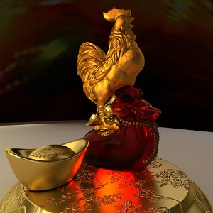 3D model chinese rooster