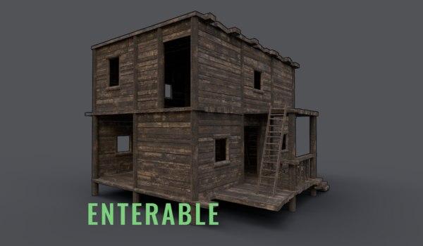 3D model wooden enterable