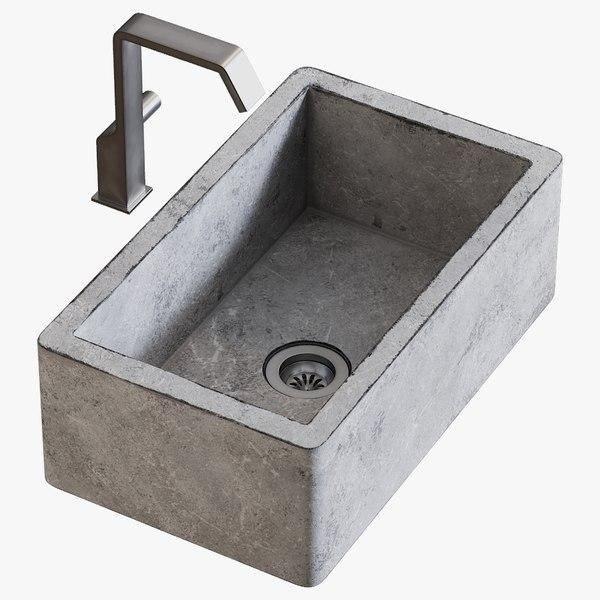 3D model realistic sink farmhouse mixer