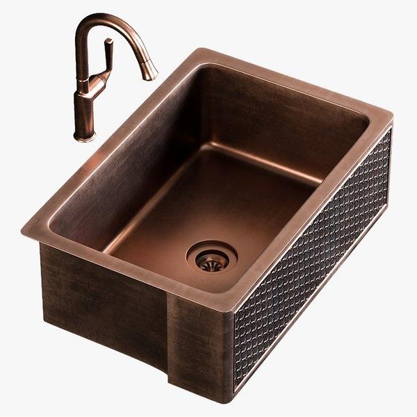realistic sink farmhouse mixer 3D model