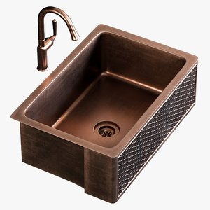 realistic sink farmhouse mixer 3D model