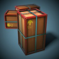 3D stylized wooden crate ready
