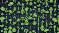 25 Low Poly Trees Plants Bushes