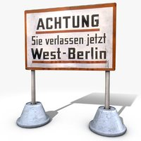 warning sign west berlin 3D model
