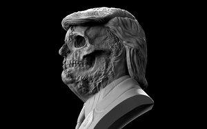 3D donald trump skull bust
