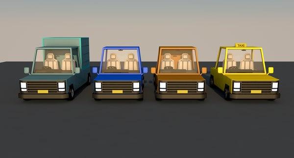 3D model cartoon cars