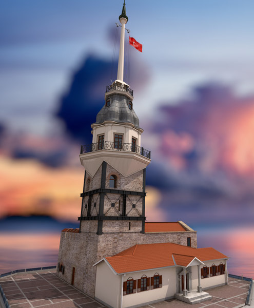 3D historical istanbul maiden tower model