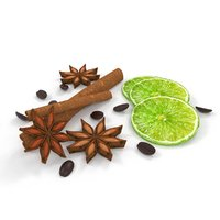 cinnamon lime coffee food 3D model
