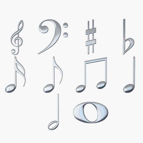 3D model silver musical notes