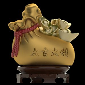 3D chinese money bag model