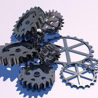 pack cogwheels 3d obj