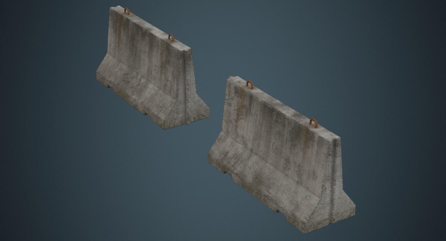 3D concrete barrier 1b model