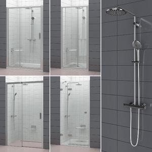 set shower doors ravak 3D