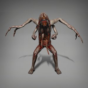 skinny mutant character 3D