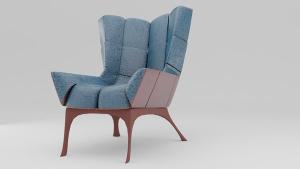 3D furniture chair blue model
