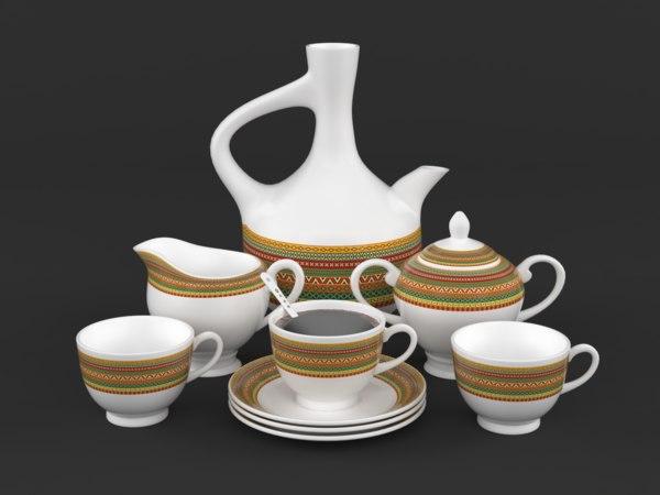 3D coffee cup saucer set
