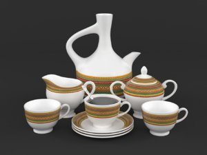 3D coffee cup saucer set
