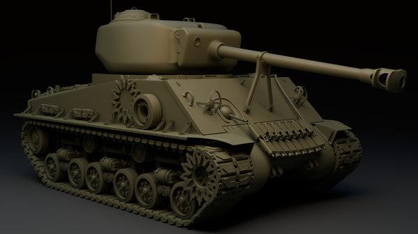 3D model m4a3e8 sherman tank