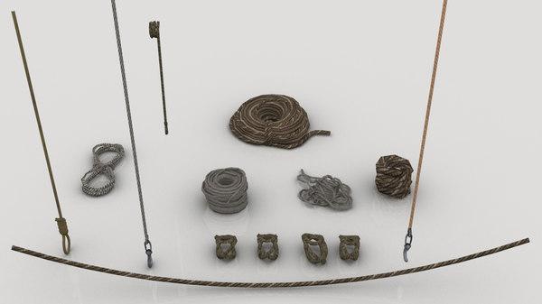 set various ropes 3D model