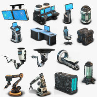 Sci Fi Props Low Poly collection